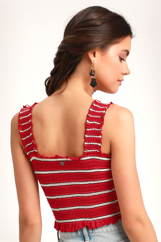 52cdba0e3a26ec Billabong Sun Dreamer - Red Striped Crop Top - Smocked Crop Top
