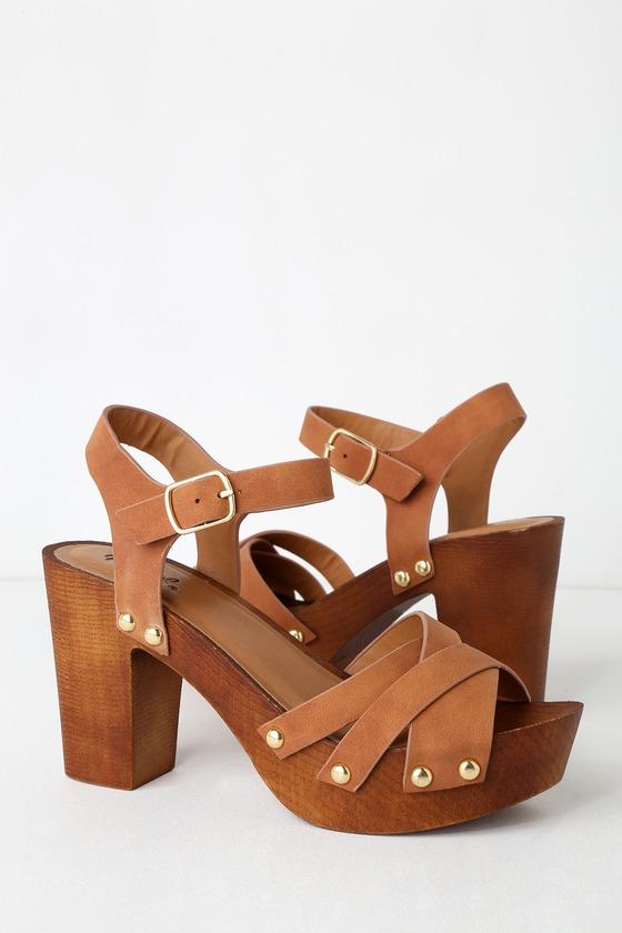 e40e1efd9907 Cute Nubuck Heels - Wooden Platform Heels - Camel Nubuck Heels