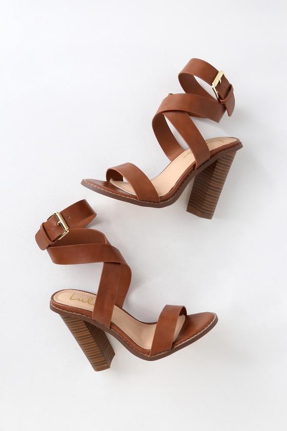 19b603ce5 Cute Tan Heels - Ankle Strap Heels - Wood-Look Stacked Heels