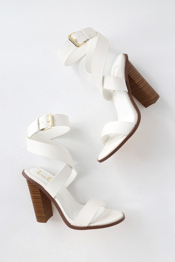 f52c66f81e1 Shelbie White Ankle Strap Heels
