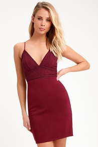 69fa23a3410 Late Night Snack Wine Red Lace Backless Bodycon Dress