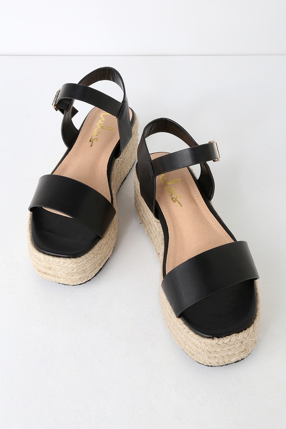 b967fa72bd Cute Black Sandals - Espadrille Sandals - Flatform Sandals