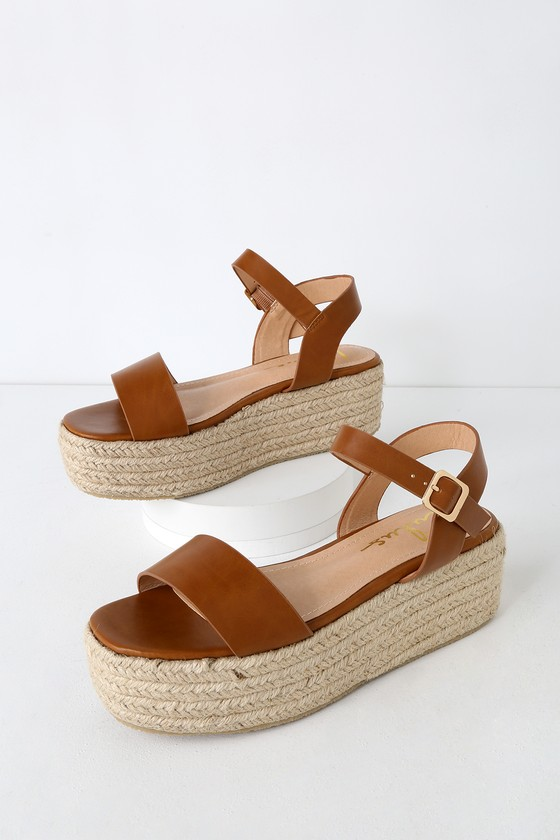 8d124e8dd Cute Tan Sandals - Espadrille Sandals - Flatform Sandals