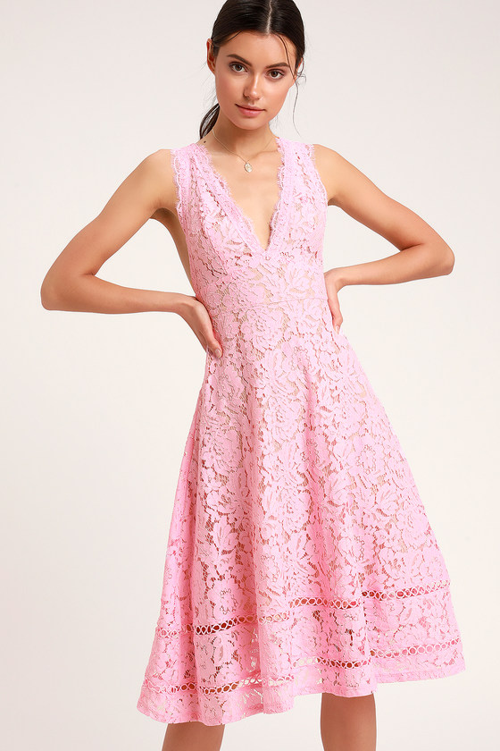 Kiss Kiss Pink Lace Sleeveless Midi Dress by Lulus