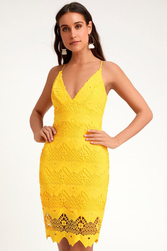 710fd54b0304 Cute Yellow Midi Dress - Crochet Lace Dress - Yellow Lace Dress