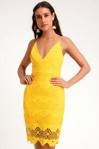 db0ff68826 Cute Yellow Dress - Lace Dress - Midi Dress - Ruffled Dress