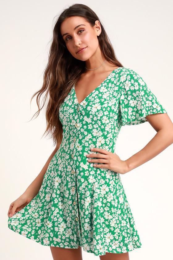 Magnolia Green Floral Print Button Front Mini Dress - Lulus