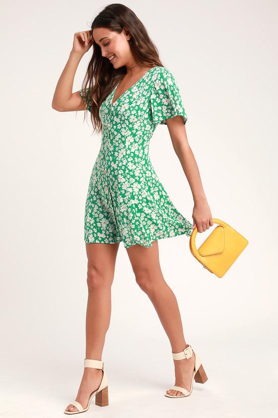 05ed9d9e724ce Cute Floral Print Dress - Green Floral Dress - Floral Print Dress