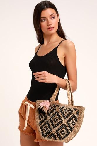 7e200ef7805 Lakeside Beige and Black Woven Crossbody Bag