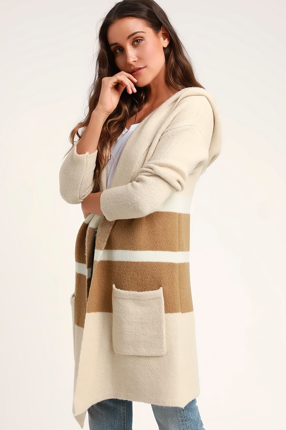 Cozy Tan and Beige Sweater - Cardigan Sweater - Hooded Sweater 758cedf99