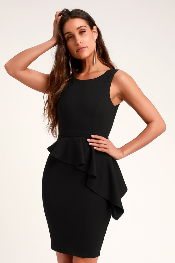 Here And Vow Black Sleeveless Ruffled Bodycon Dress by Lulus