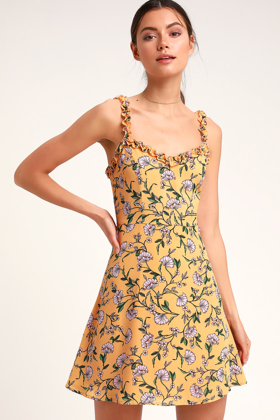 0e398b6a26 Cute Mustard Yellow Dress - Floral Print Dress - Skater Dress