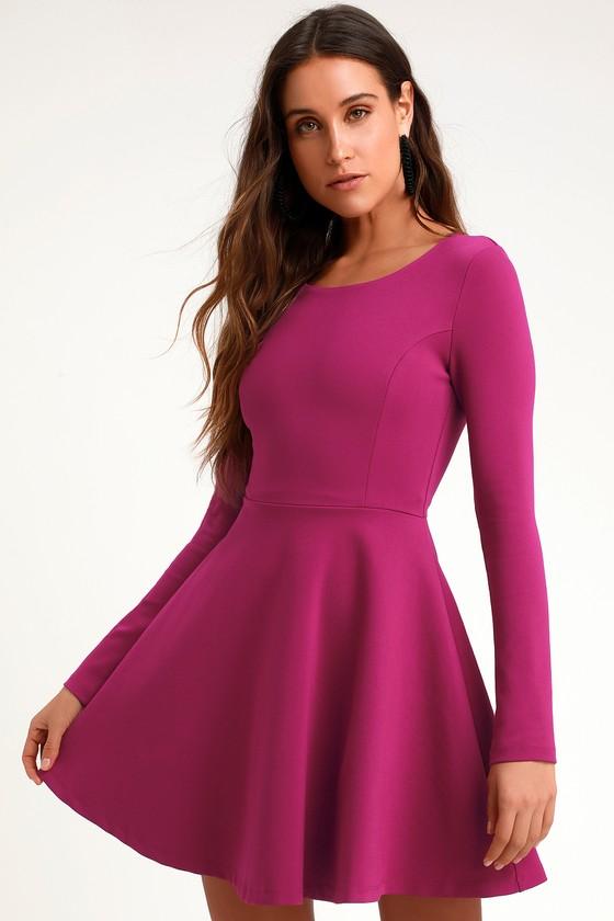 d4487512a9218 Cute Magenta Dress - Long Sleeve Dress - Skater Dress