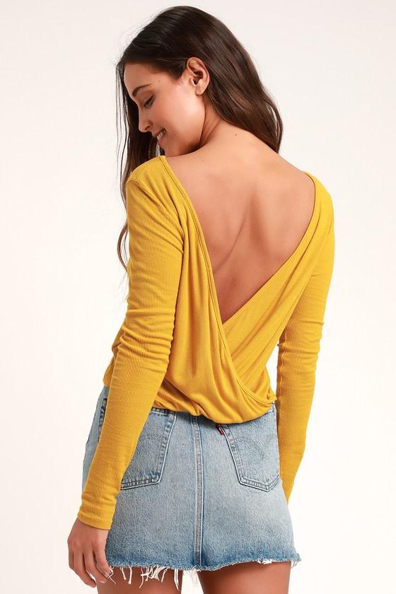 280ae9b543 Cute Mustard Yellow Top - Backless Top - Long Sleeve Top