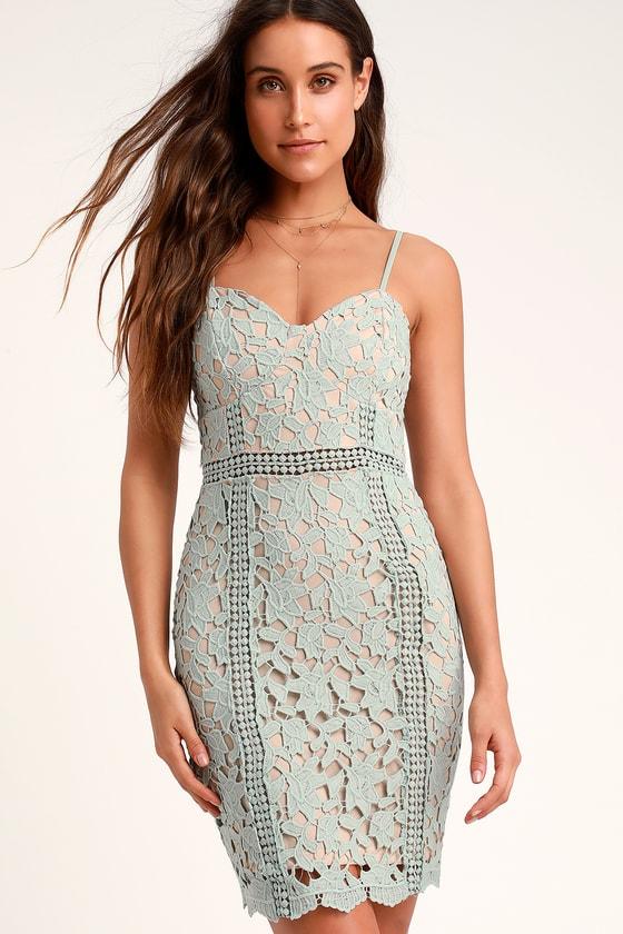 020e47b013c9 Lovely Sage Green Lace Dress - Lace Dress - Lace Sheath Dress