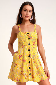 ed71ddd650 Wandering Wildflower Yellow Floral Print Button-Up Skater Dress