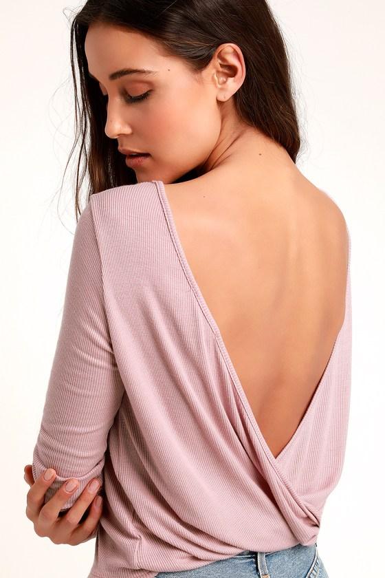 7ab6b6a1ab Cute Mauve Pink Top - Backless Top - Long Sleeve Top - Mauve Top