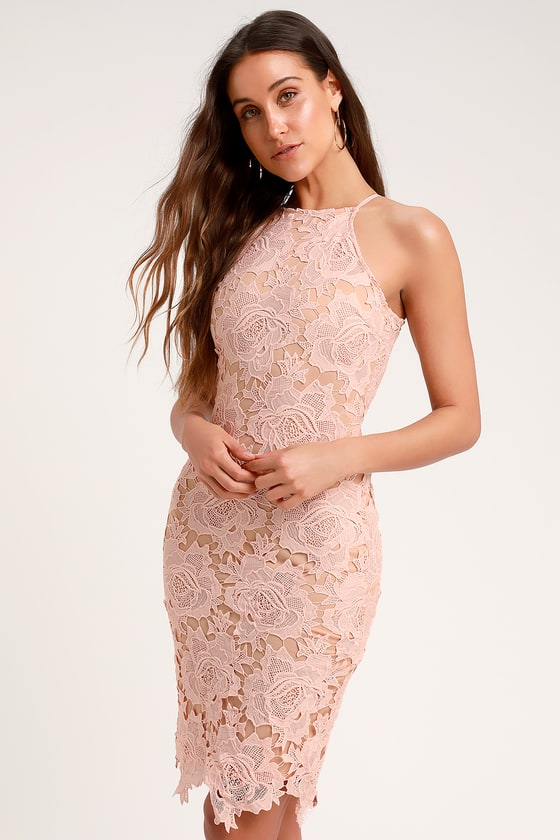 da46b3e1842c5 Sexy Blush Pink Lace Dress - Bodycon Dress - Sleeveless Dress