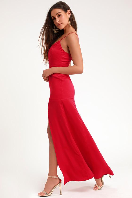 910e00c19c30d Sexy Red Dress - Sleek Dress - Red Maxi Dress - Satin Maxi Dress