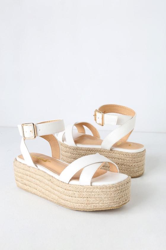 e098a4cc5d2 Cute White Espadrilles - Espadrille Sandals- Platform Sandals