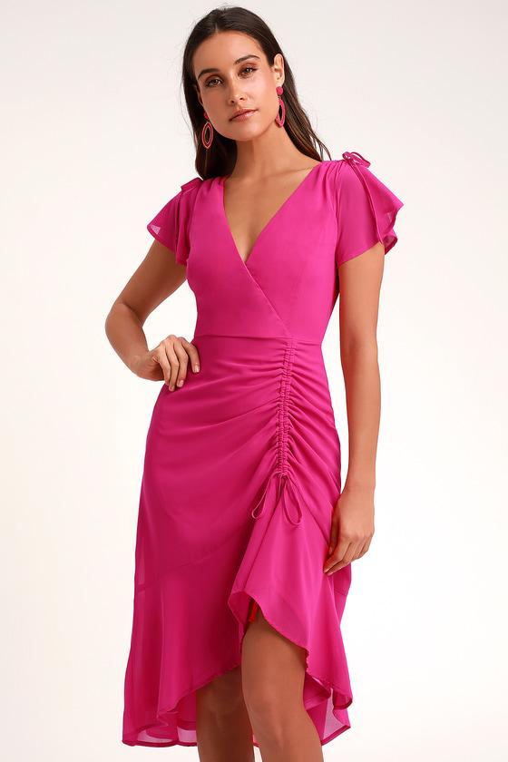 779e6d2fb396 Lovely Magenta Dress - Midi Dress - Ruched Dress - High-Low Dress