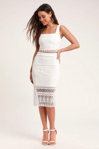 a40d43806e8 Reminiscing Romantic White Crochet Lace Midi Pencil Skirt