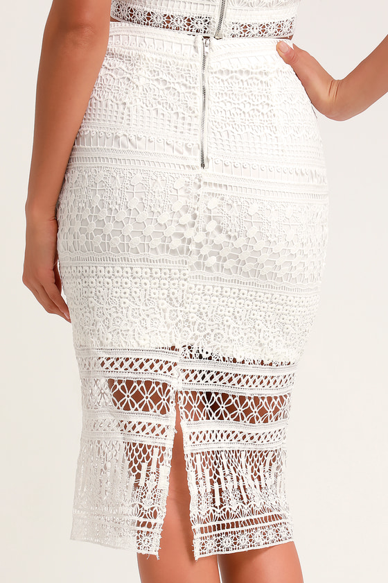 largest selection of 2019 2019 clearance sale 2019 wholesale price Reminiscing Romantic White Crochet Lace Midi Pencil Skirt