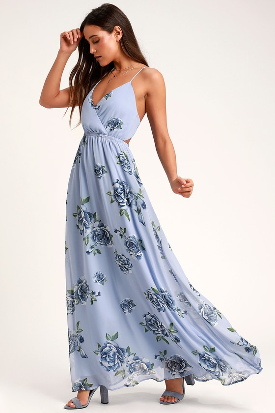eebc9d7bdd4c Cute Light Blue Floral Print Dress - Maxi Dress - Backless Dress