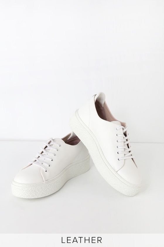 1dea4a42e88f Seychelles Poetic - White Leather Sneakers - Flatform Sneakers