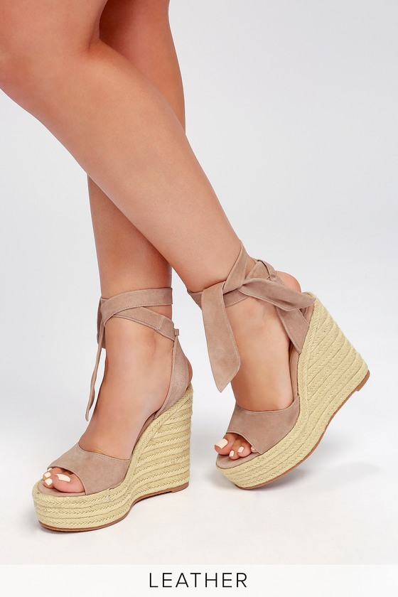 new specials wholesale outlet outlet on sale Barca Blush Kid Suede Leather Lace-Up Espadrille Wedges