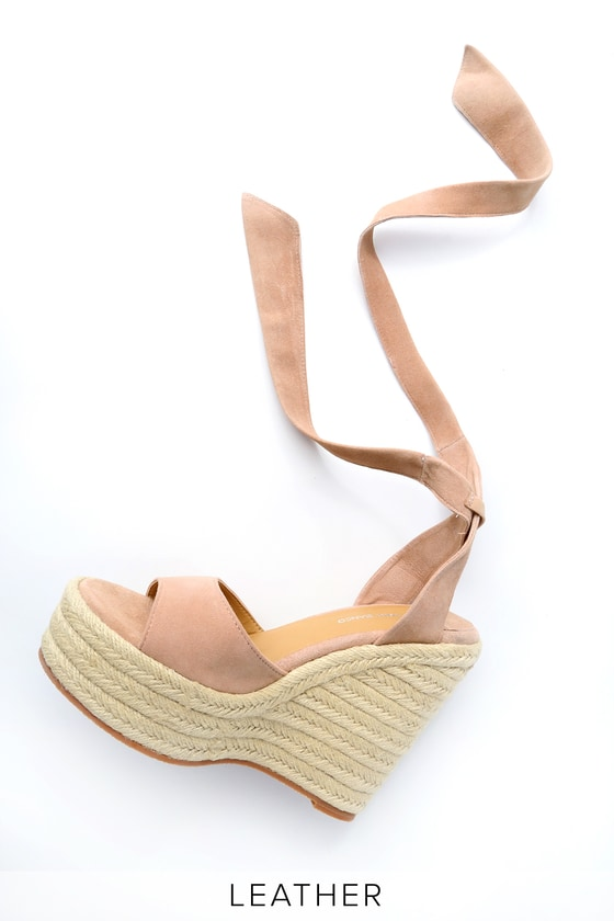 4fbba1002837 Tony Bianco Barca - Blush Suede Lace-Up Espadrille Wedges