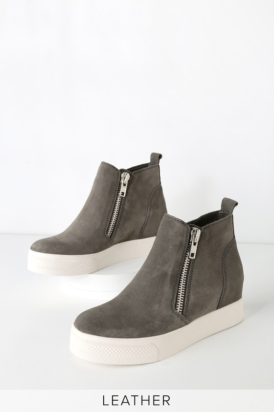 511b3a34111 Wedgie Grey Suede Leather Hidden Wedge Sneakers