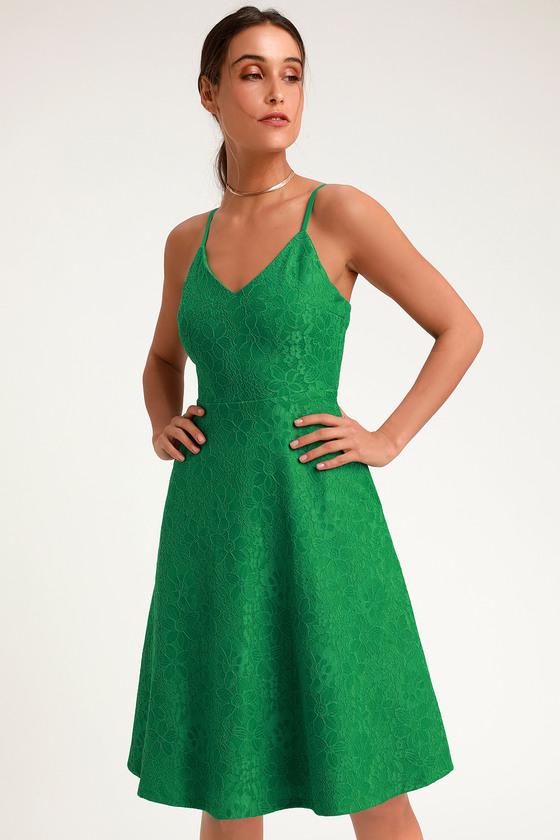 02ae93ddae Cute Green Lace Dress - Lace Midi Dress - Lace Skater Dress