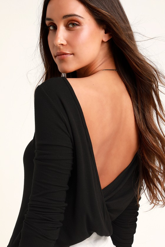 cacc14f951 Cute Black Top - Backless Top - Long Sleeve Top - Backless Shirt