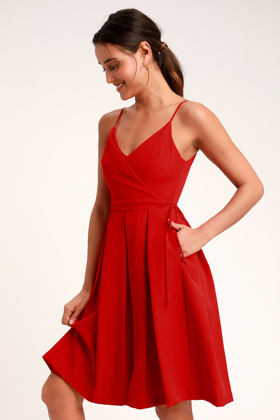 0b57cb45c472 Cute Red Dress - Faux Wrap Dress - Midi Dress - Midi Skater Dress