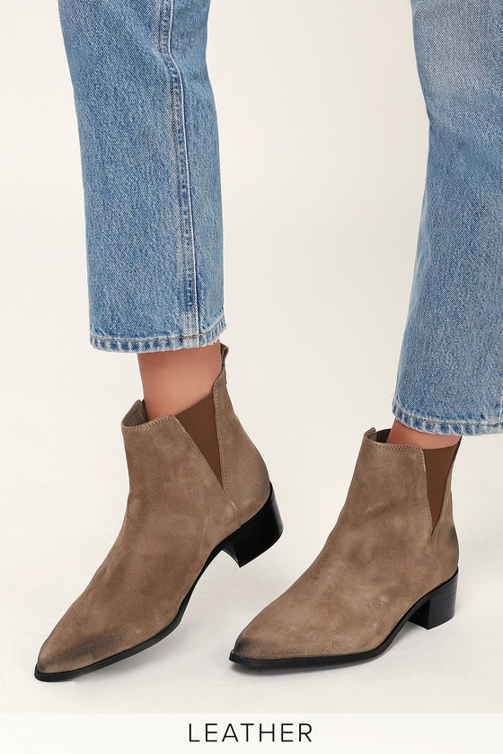 01d74f4b8b2 Rally Taupe Suede Leather Ankle Boots