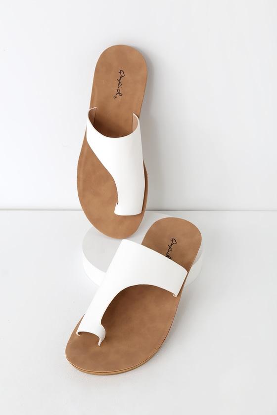 491040628abd9f Cute White Sandals - Vegan Leather Sandals - Asymmetrical Sandals