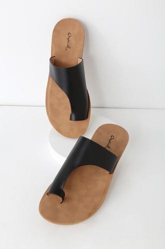 923976883ed Cierra Black Toe-Loop Slide Sandals