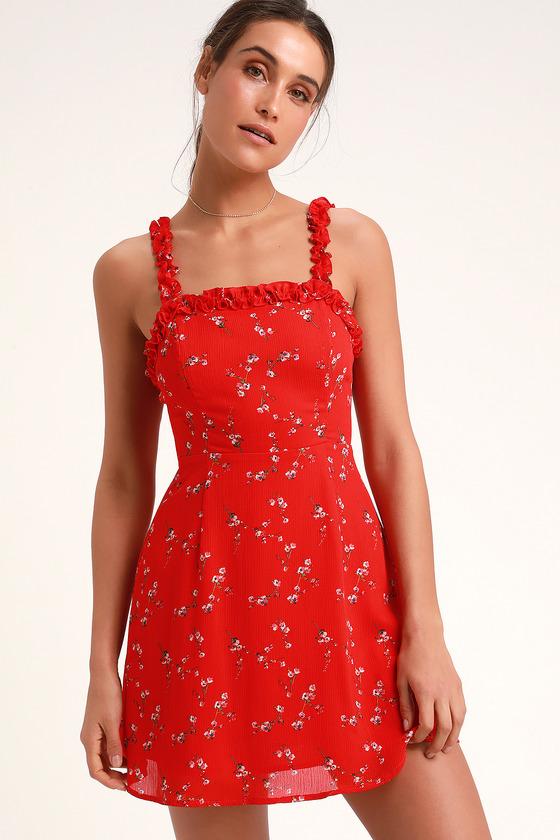 3657d9bc Cute Red Floral Print Dress - Skater Dress - Sleeveless Dress