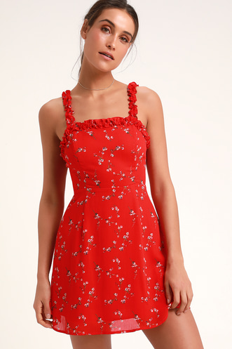 In the Garden Red Floral Print Skater Dress 724f2850e