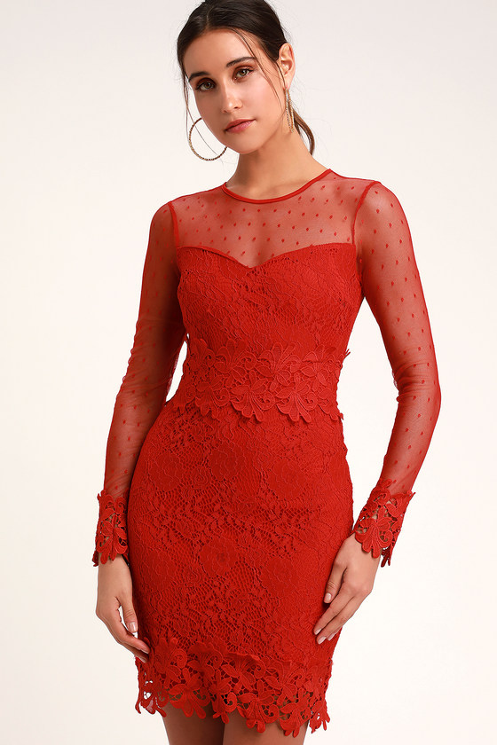 165c2d7a02e Lacey Lane Red Lace Long Sleeve Dress