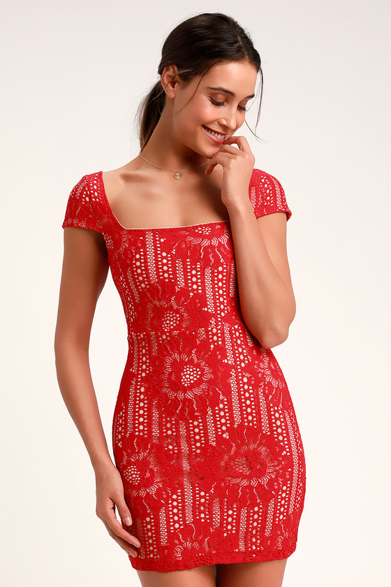 2be3ec704318 Lovely Red Lace Dress - Red Lace Dress - Lace Mini Dress