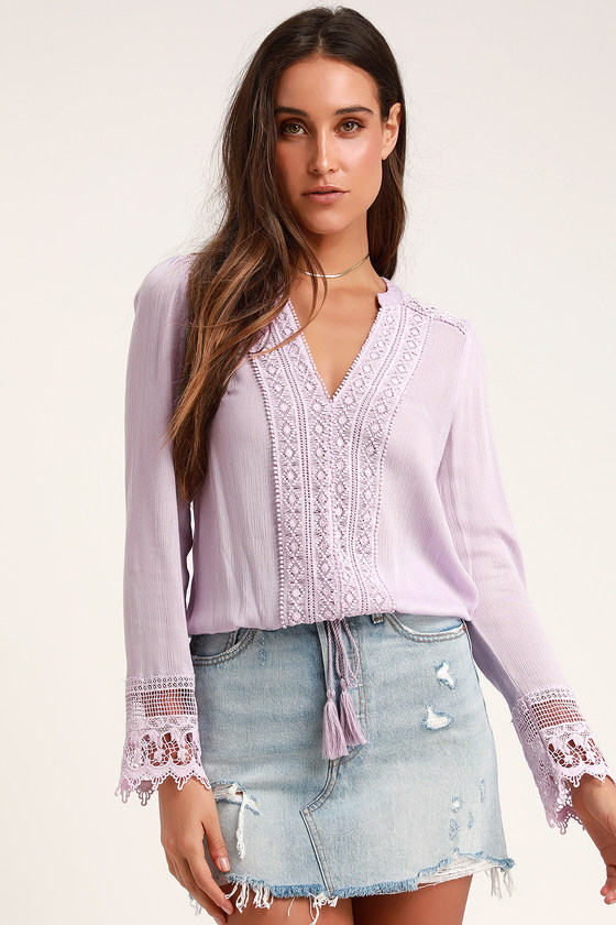 10a3a07b5468c6 Boho Lavender Top - Lace Top - Long Sleeve Top - Blouse