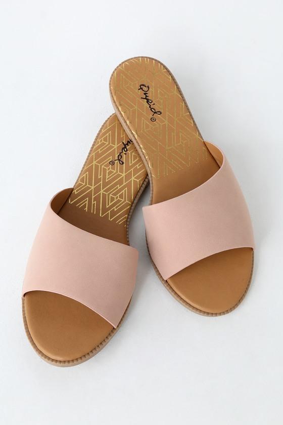 Reina Blush Nubuck Slide Sandals by Lulu's