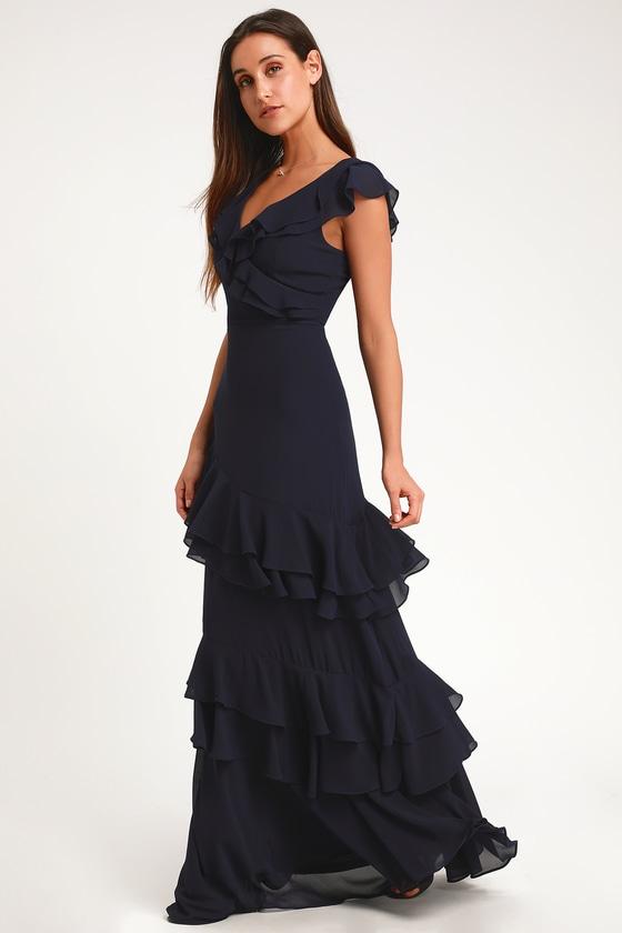 6426aa4d91 Stunning Maxi Dress - Ruffled Maxi Dress - Navy Blue Maxi Dress