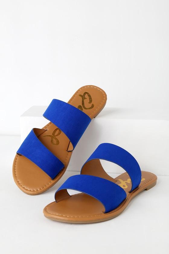 7bc2a02f66f2d9 Cute Cobalt Blue Sandals - Flat Sandals - Blue Slide Sandals