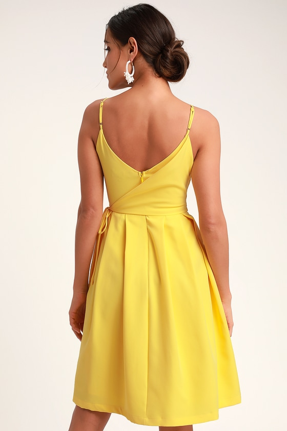 fa4304f57db Cute Yellow Dress - Faux Wrap Dress - Midi Dress - Midi Skater