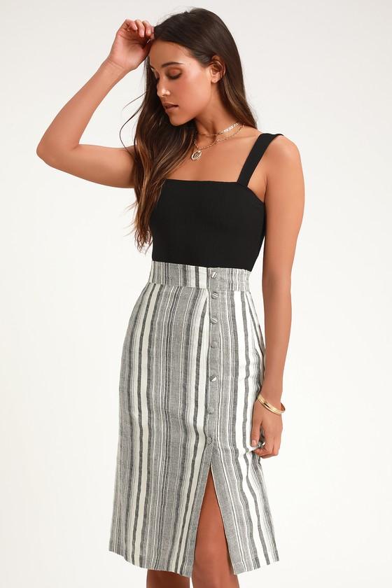 b71994be40eafd Cute Grey Striped Skirt - Midi Skirt - Striped Midi Skirt