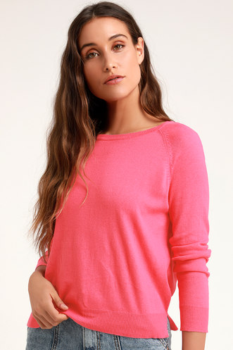 Betsy Lou Pink Long Sleeve Knit Sweater 1b93c10d7