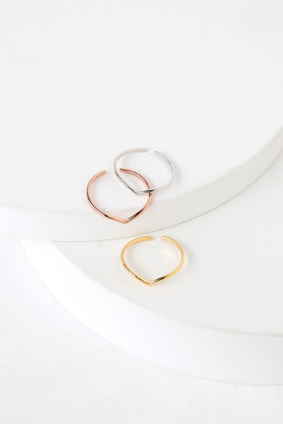 Radiant Light Mixed Metal Ring Set - Lulus